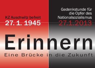 Aufruf (Ausschnitt): Gedenkstunde für die Opfer des Nationalsozialismus, 27.1.2013